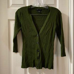 New York & Co Green V neck 3/4 sleeve cardigan M